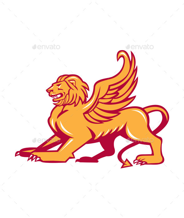 GraphicRiver Winged Lion Side Retro 10323363