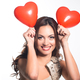 Young woman portrait with heart balloons - PhotoDune Item for Sale