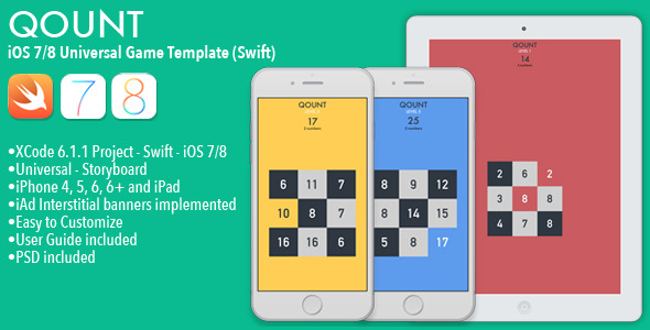 CodeCanyon QOUNT Full iOS Math Game Template Swift 10323651