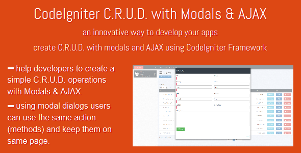 CodeCanyon CodeIgniter C.R.U.D with Modals & AJAX 10324774
