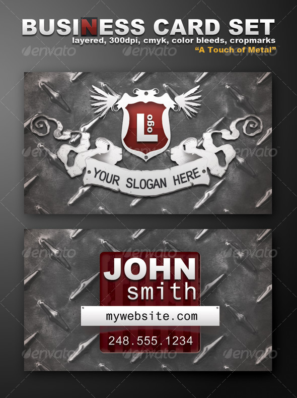 "Business Card Template ""A Touch Of Metal"" - Grunge Business Cards"