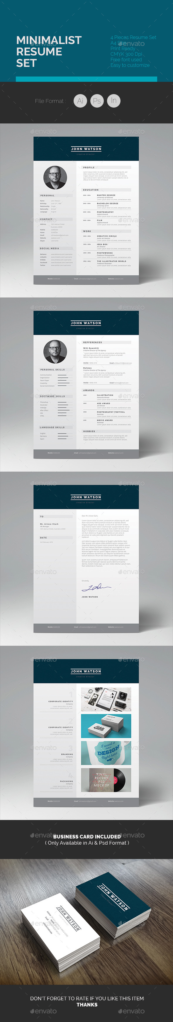 GraphicRiver Minimalist Resume Set 10325003