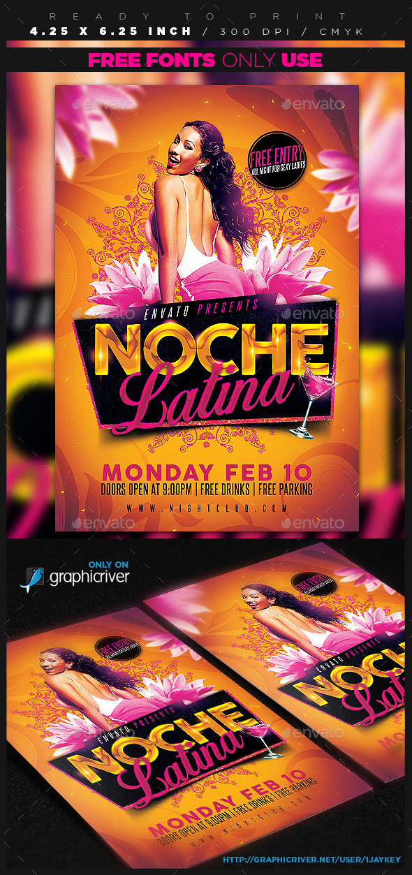GraphicRiver Noche Latina Party Flyer 10328508