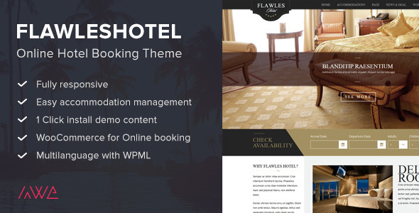 ThemeForest Flawleshotel Online Hotel Booking Theme 10328615