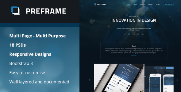 ThemeForest Preframe Multipurpose PSD 10328721