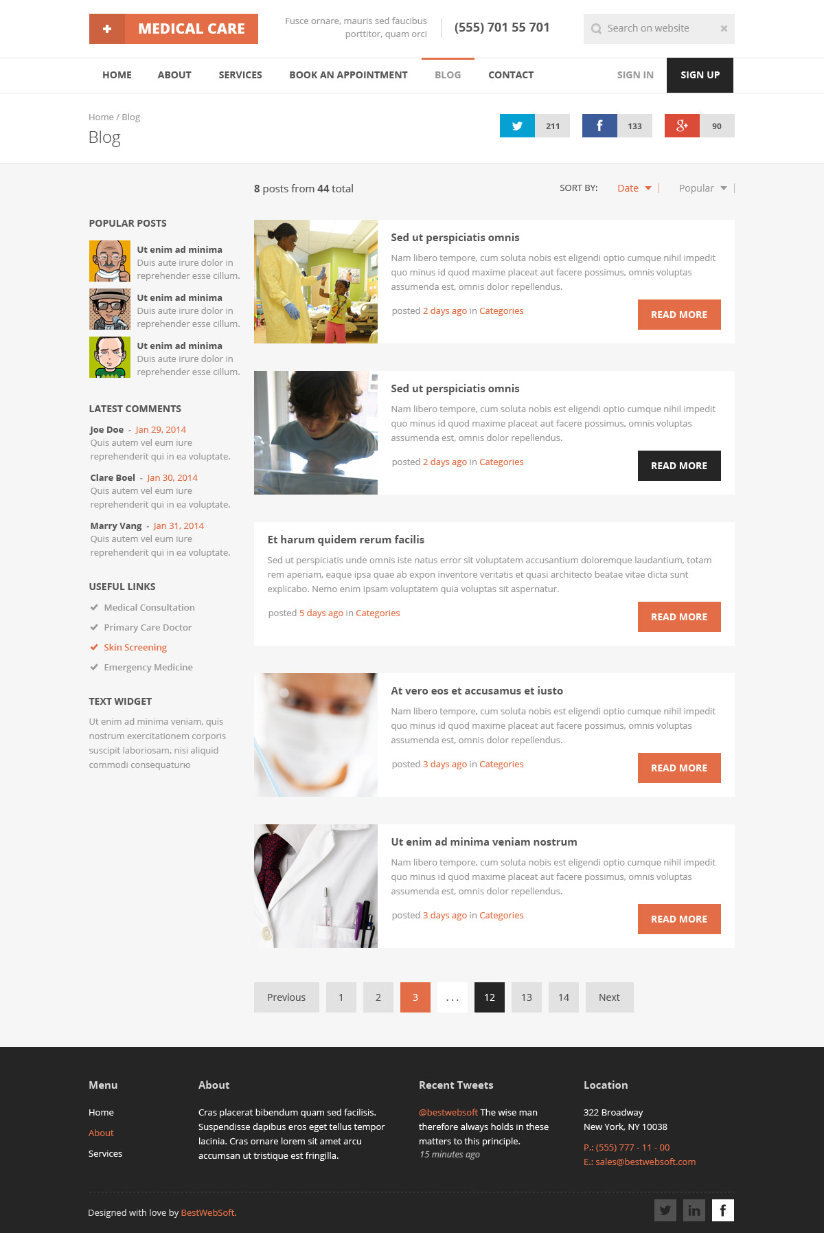 Medical Care Medical PSD Template by bestwebsoft – Contact Book Template