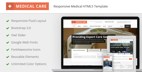 ThemeForest Medical Care Responsive Medical HTML5 Template 10042392