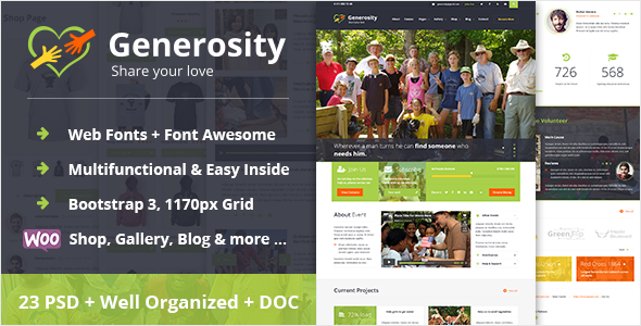 ThemeForest Generosity Charity Nonprofit PSD Template 10329708