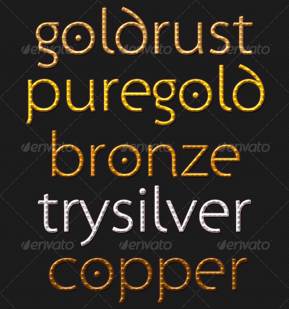 GraphicRiver Premium Gold Silver Bronze & Copper Text Styles 130229