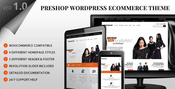 ThemeForest PreShop Responsive WooCommerce Wordpress Theme 10329894
