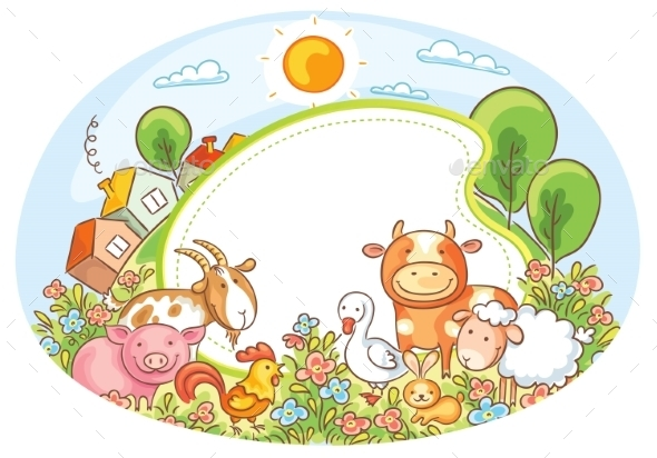 GraphicRiver Oval Frame with Farm Animals 10330107