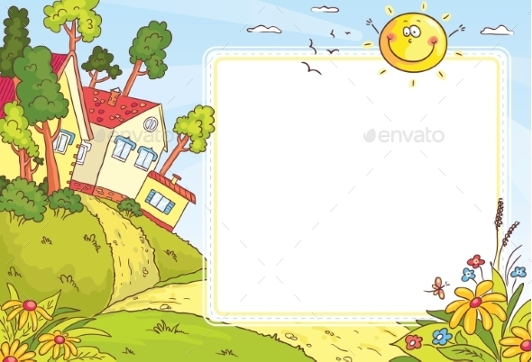 GraphicRiver Square Frame with Countryside Landscape 10330111