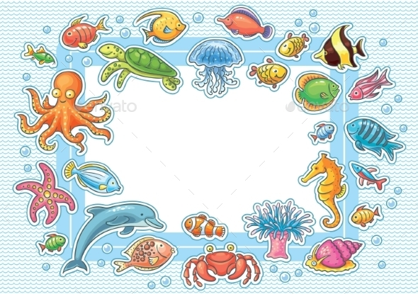 GraphicRiver Frame with Sea Animals 10330114