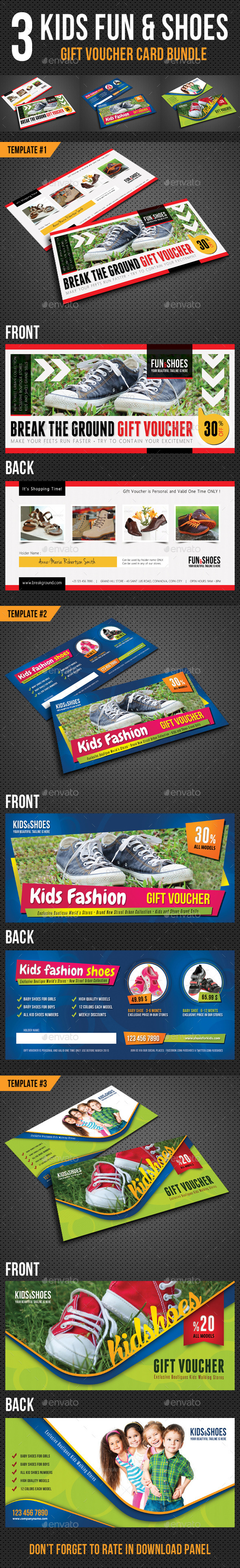 GraphicRiver 3 in 1 Kids Fun and Shoes Gift Voucher Bundle 10330446
