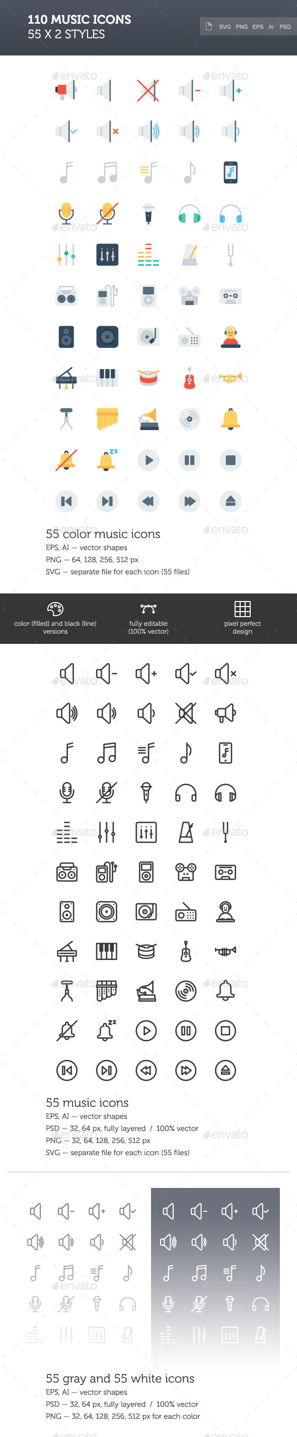 GraphicRiver Music Icon Set 2 styles 10330563