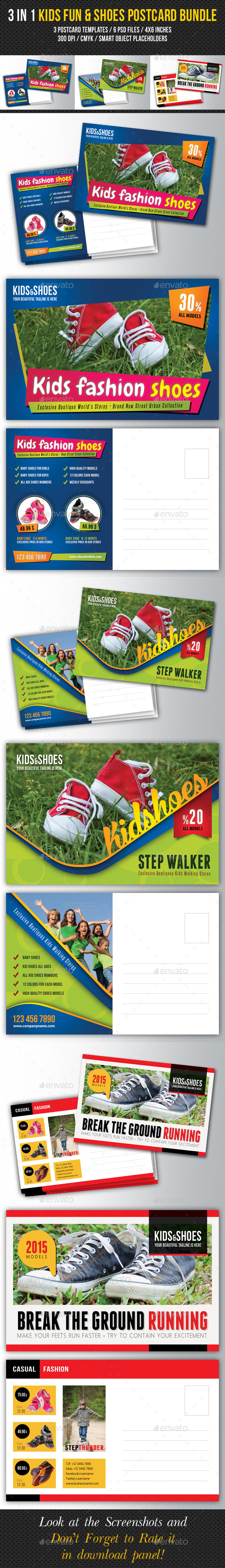 GraphicRiver 3 in 1 Kids Fun and Shoes Postcard Bundle 10330577