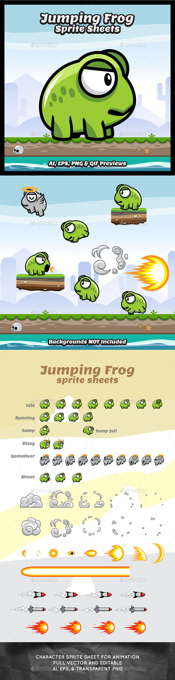 GraphicRiver Jumping Frog Sprite Sheets Game Character 10330580