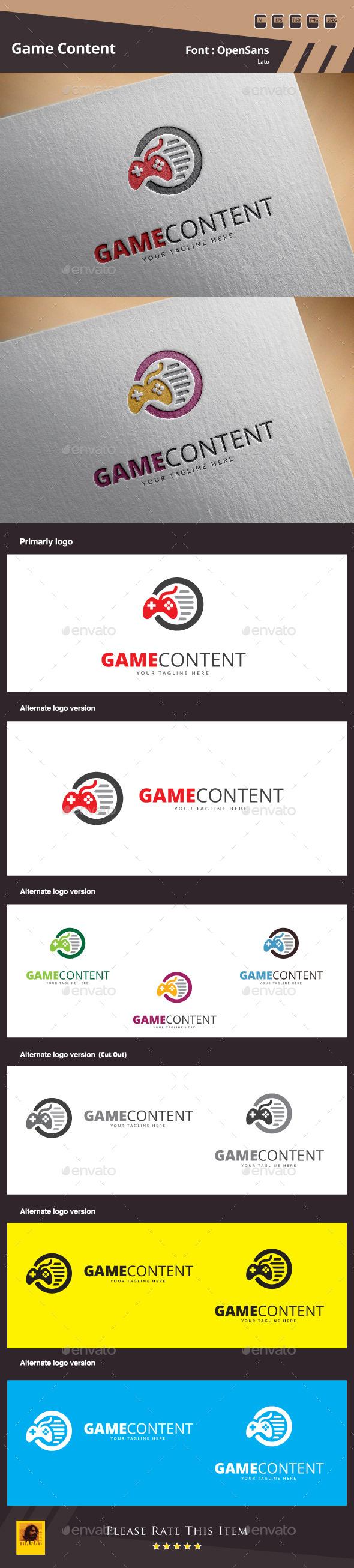 GraphicRiver Game Content Logo Template 10330608