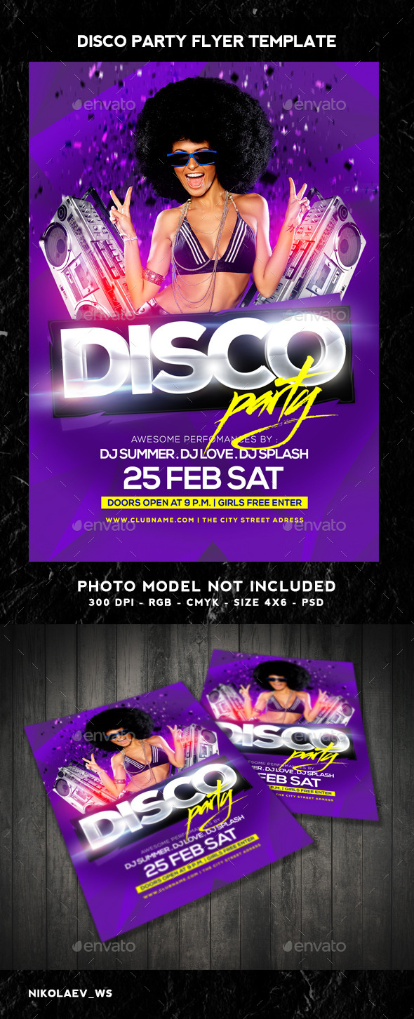 GraphicRiver Disco Party Flyer 10331185