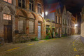 Cityscape with the picturesque night street in Bruges - PhotoDune Item for Sale