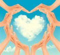 Retro Holiday background with hands making a heart and cloud. Valentine's Day.  - PhotoDune Item for Sale