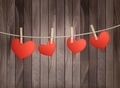 Background with red hearts on wooden texture. Valentine's day  - PhotoDune Item for Sale