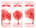 Three Holiday banners. Valentine trees with heart-shaped leaves.  - PhotoDune Item for Sale