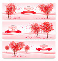 Three Holiday banners. Valentine trees with heart-shaped leaves - PhotoDune Item for Sale
