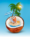 Vacation concept. Palm tree, suitcase and an umbrella in a coconut. - PhotoDune Item for Sale