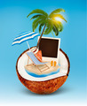 Vacation concept. Palm tree, suitcase and a photo in a coconut. - PhotoDune Item for Sale