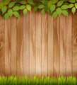 Natural wooden background with leaves and grass.  - PhotoDune Item for Sale