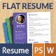 Stylish Flat Resume - GraphicRiver Item for Sale