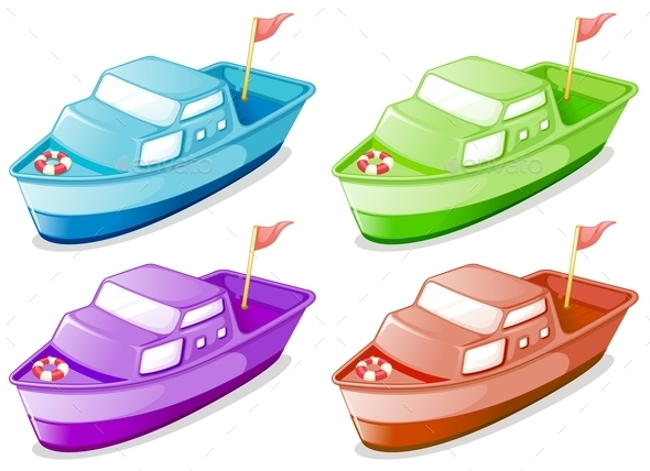 GraphicRiver Four Boats in Different Colors 10333723
