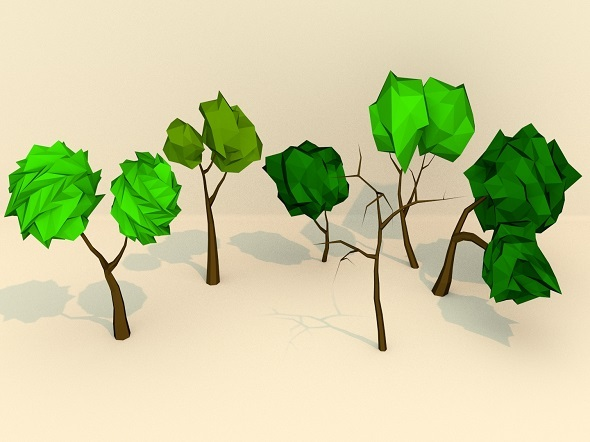 3DOcean Low Poly Trees Pack 10333991