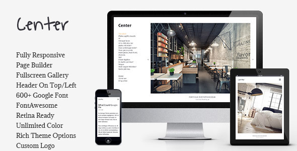 ThemeForest Center Portfolio Gallery Responsive WP Theme 10334159