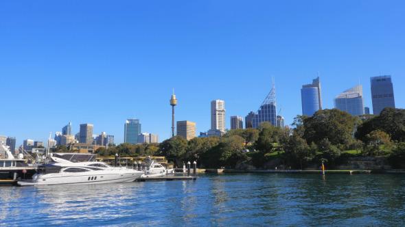 Sydney CBD from Finger Wharf Woolloomooloo