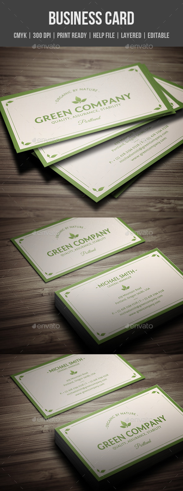GraphicRiver Green Company Business Card 10334361
