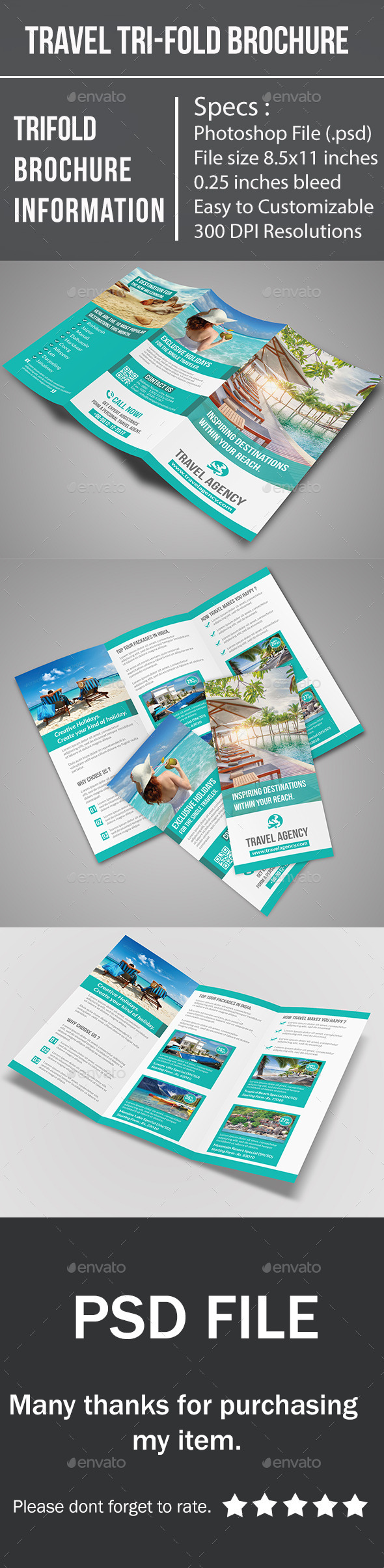 GraphicRiver Travel Tri-Fold Brochure 10334389