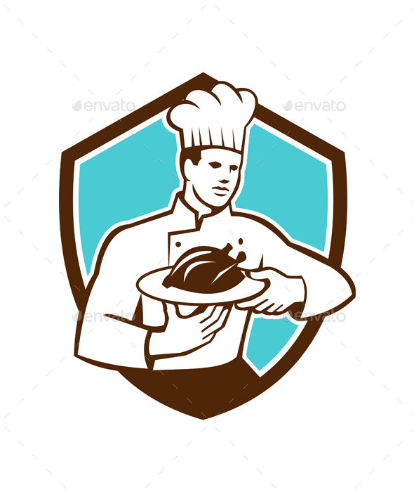 GraphicRiver Chef Serving Chicken Platter Retro Shield 10334842