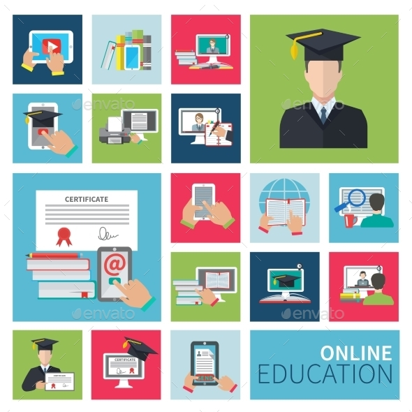 GraphicRiver Online Education Flat Icons 10334877