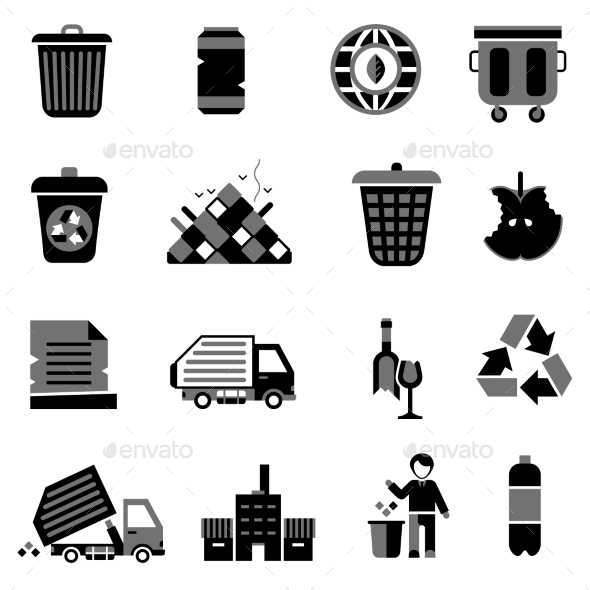 GraphicRiver Garbage Icons Black 10335038