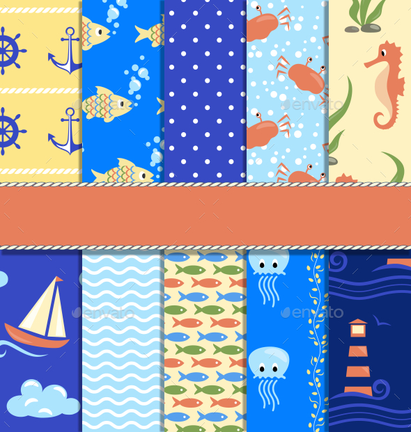 GraphicRiver Set of 10 Seamless Sea Patterns 10335039