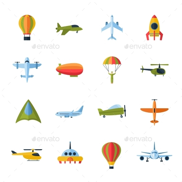 GraphicRiver Aircraft Icons Set Flat 10335044