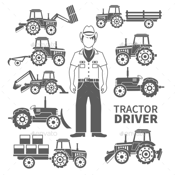 GraphicRiver Tractor Driver Icons 10335058