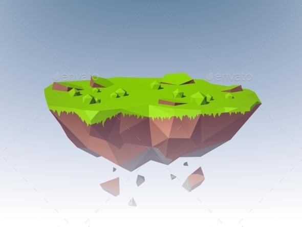 GraphicRiver Flying Island Polygonal 10335078