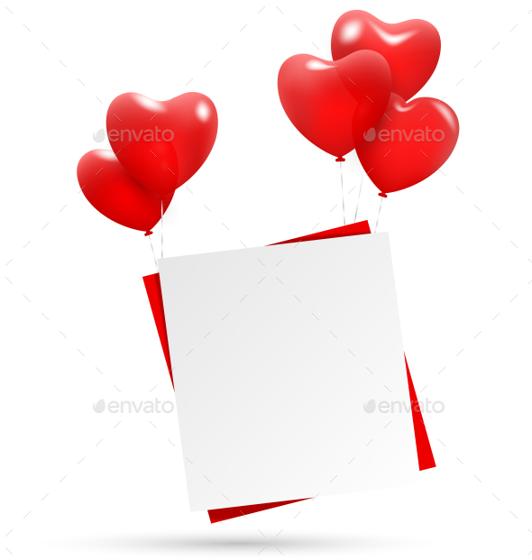 Heart Balloons Holding Paper