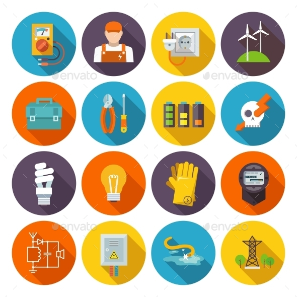 GraphicRiver Electricity Icon Flat 10335858