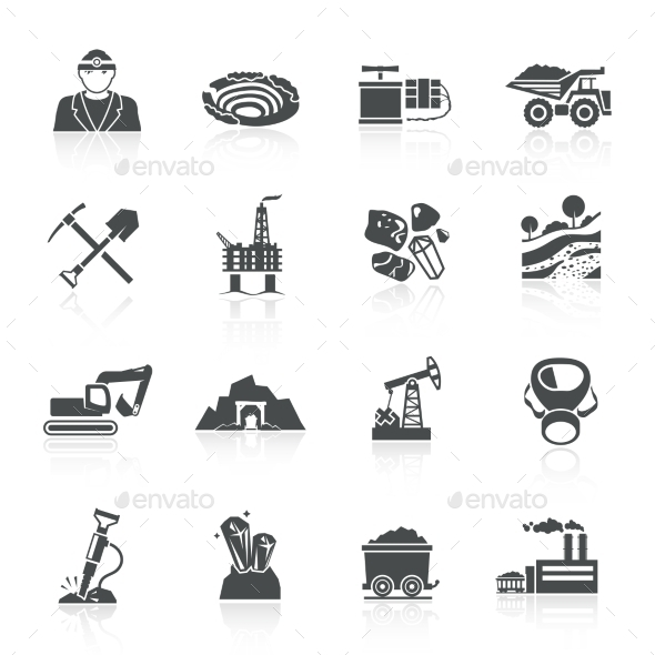 GraphicRiver Mining Icons Black 10335860