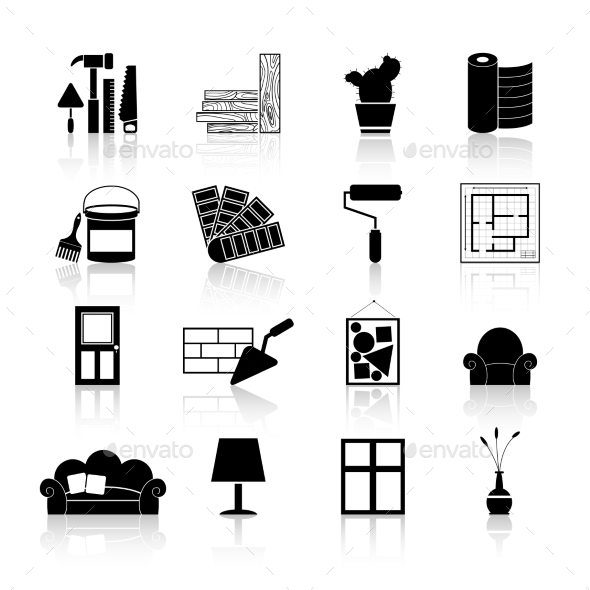 GraphicRiver Interior Design Icons Black 10335914