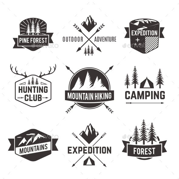 GraphicRiver Tourism Emblems Labels Set 10335920